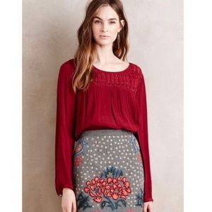 Anthropologie Red Blouse size L